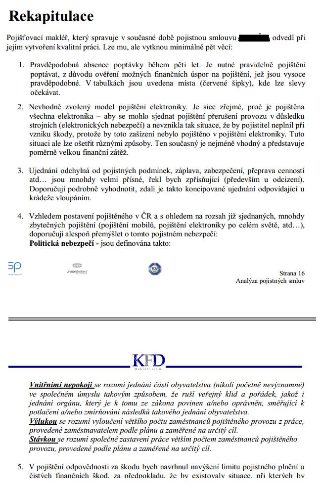 Analýza pojistné smlouvy